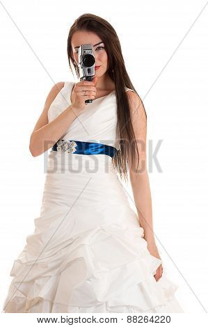 woman in a wedding dress with the old Soviet video camera
