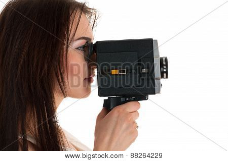 woman looking at the viewfinder Soviet camera