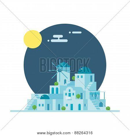 Flat Design Of Santorini Greece Village