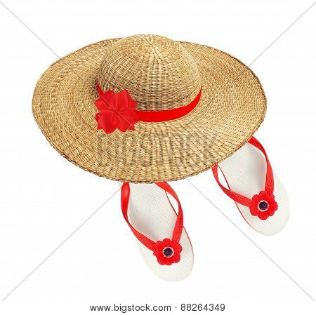 White Beach Shoes With Red Flower And Woman Hat Isolated On White