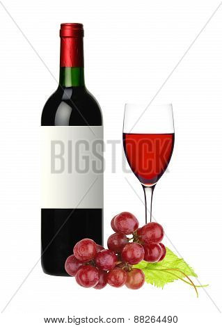 Bottle And Glass Of Red Wine And Grape Isolated On White