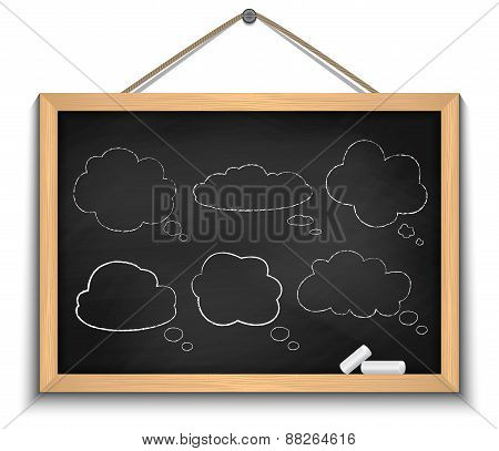 Chalkboard With Cloud Speech Bubbles
