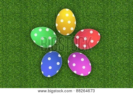 Colorful Easter Eggs Over Green Grass
