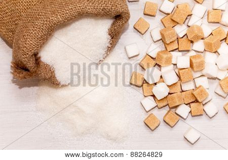 Jute bag full of sugar