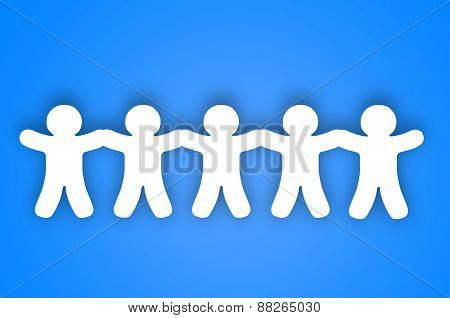 Paper Team White People Over Blue Background