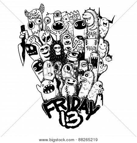 Hand Drawn Friday 13 Grunge Illustration