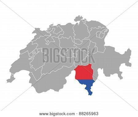 Map Of Switzerland With Flag Of Ticino