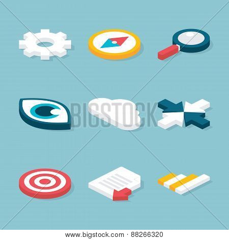 Flat Website Isometric Objects Set