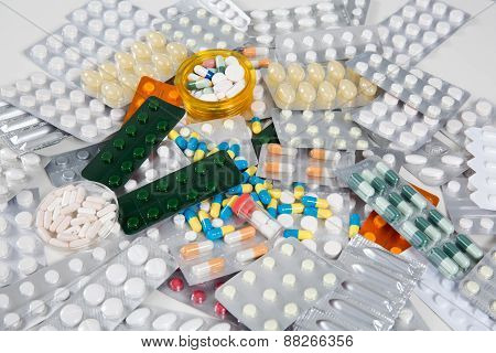 A Color Background Made Of Colorful Pills