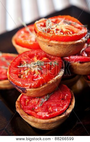 Mini Quiches With Cheese And Tomato