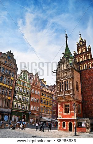 People visit Rynek (Market Square) in Wroclaw, Poland.