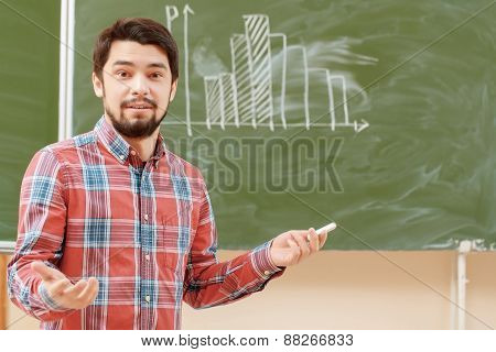 Students put graphs on a blackboard