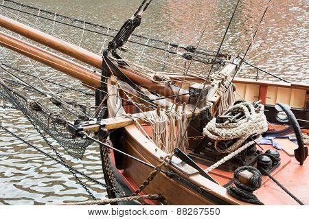 Ropes and anchor on deck of an old sailing boat