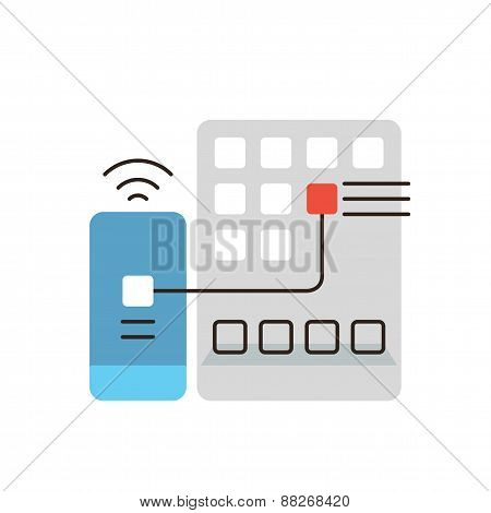 Mobile Apps Installation Flat Line Icon Concept