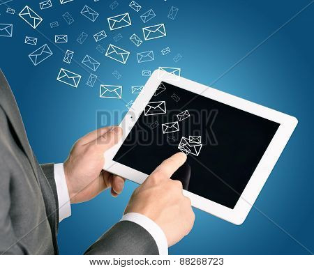 Business man using tablet