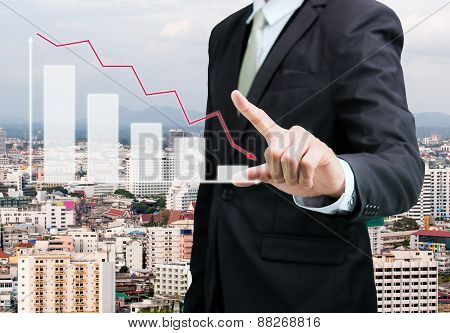 Businessman Standing Posture Hand Touch Graph Finance