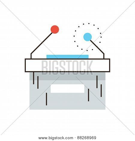 Conference Table Flat Line Icon Concept