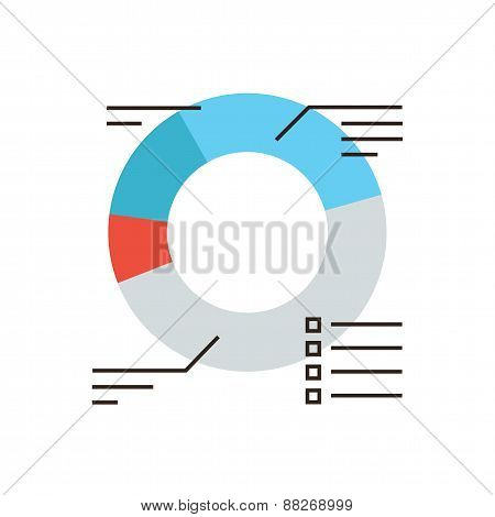 Corporate Diagram Flat Line Icon Concept