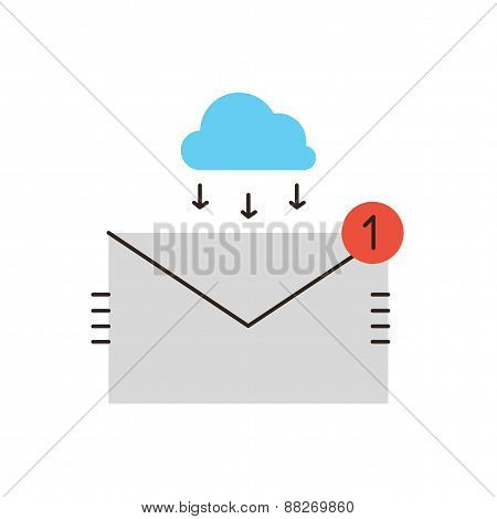 Email Inbox Flat Line Icon Concept