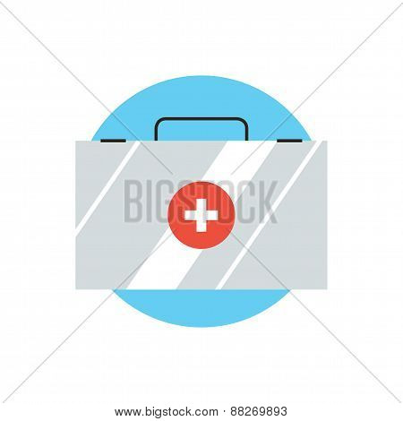 First Aid Kit Flat Line Icon Concept