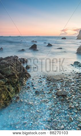 Sunset Coastal With Rock Stone