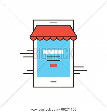 Mobile Shopping Flat Line Icon Concept
