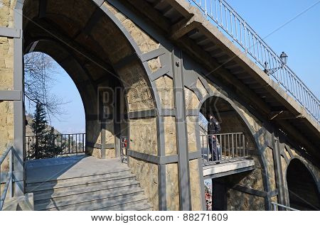 Tbilisi, Georgia-Feb,26 2015:One of the stations of new restructed Tbilisi funicular