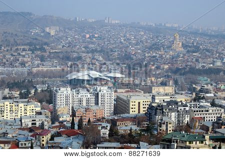 Top view of the central part of Tbilisi