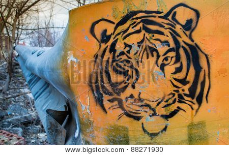 Tiger Mural In Orange And Black