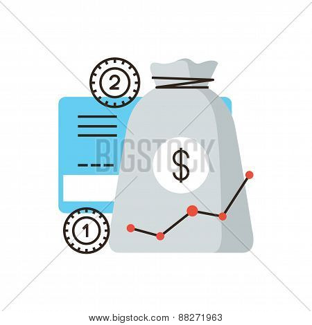 Income Growth Flat Line Icon Concept