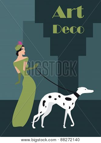 illustration of a woman with a dog