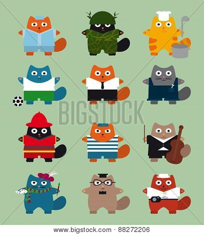 illustration with cats