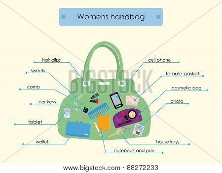 illustration of a female handbag