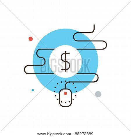 Pay Per Click Flat Line Icon Concept