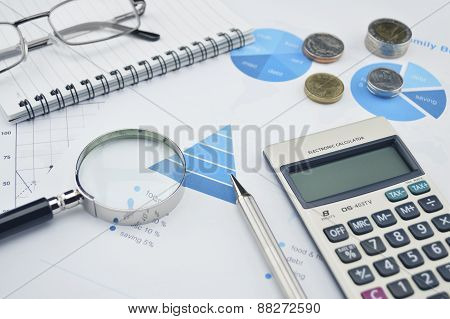 Magnifying Glass, Pen, Glasses And Calculator On Financial Chart And Graph