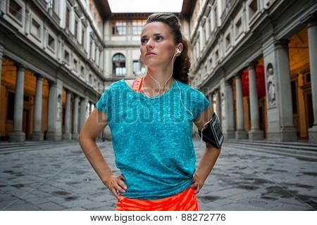 Portrait Of Fitness Woman Near Uffizi Gallery In Florence, Italy