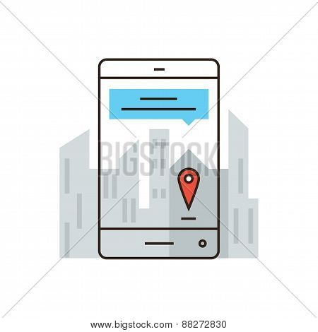 Virtual City Map Flat Line Icon Concept