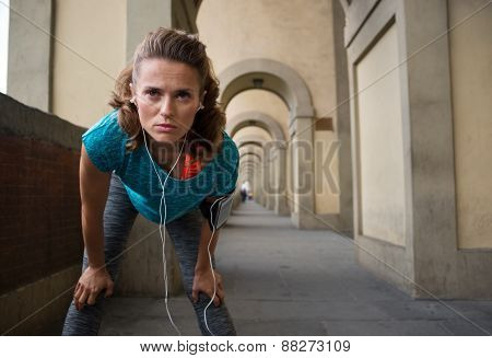 Fitness Woman Catching Breathe