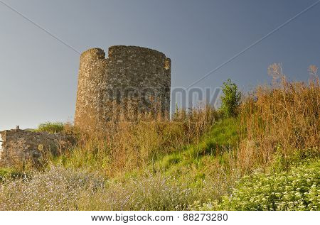 Ruins Of The Ancient Ancient Tower At Seaside Nessebar, Bulgaria