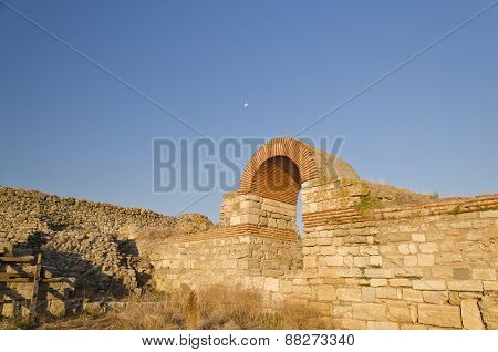 Part Of The Wall In The City Of Nesebar In Bulgaria