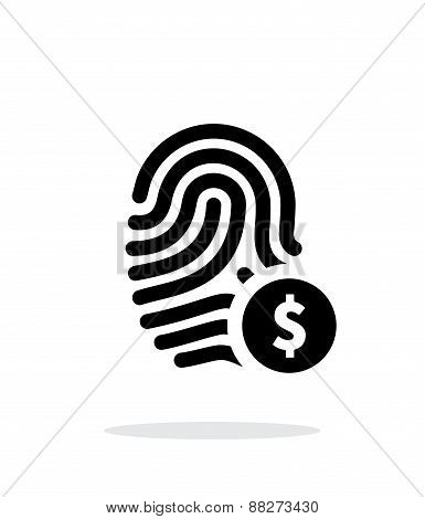 Fingerprint with USD currency symbol and money label icon on white background.