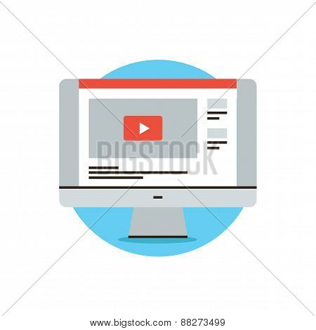 Video Sharing Website Flat Line Icon Concept