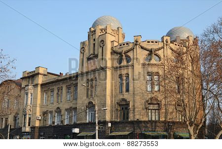 Tbilisi, Georgia-Feb,26 2015:Stone house with domes on Rustaveli Avenue, Tbilisi