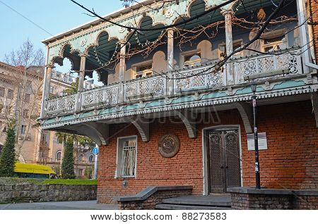 Mansion with traditional balconies on the Baratashvili street in Tbilisi
