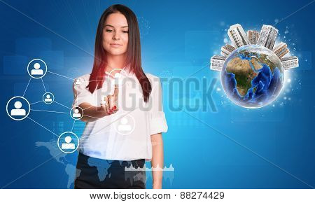 Young woman looking forward at her pointer finger of right hand