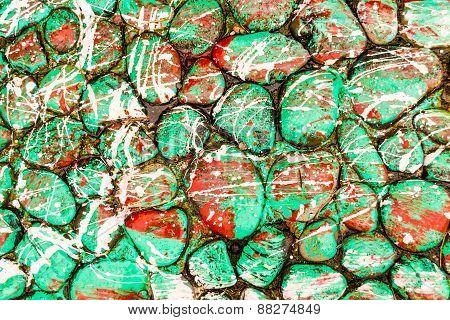 Green Paint Drip Stones