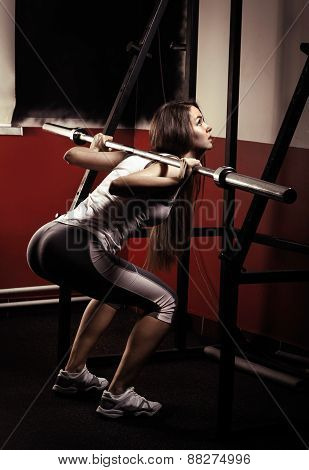Sporty girl doing exercise with dumbbells in the gym.