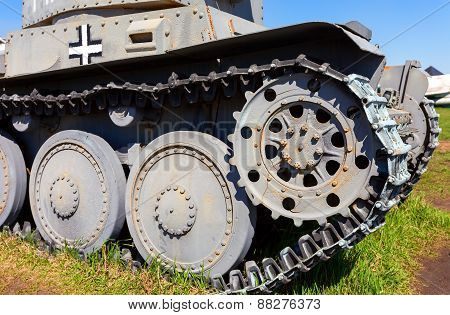 German Old Light Tank Caterpillar Close Up
