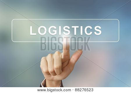 Business Hand Clicking Logistics Button On Blurred Background