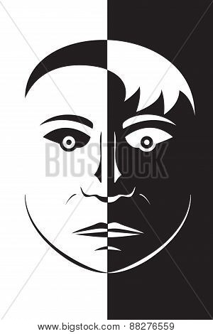 Opposite black and white head face silhouette with unpleasant sight